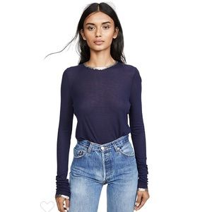 Zadig & Voltaire Willy Foil Top in Marine.